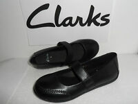 CLARKS LADIES COMFY BLACK LEATHER SLIP ON MARY JANE SHOES UK SIZE 4,5,6 D