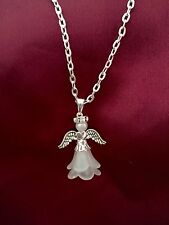 "4 X Guardian Angel Pendant 16"" Necklace With Diamonte  Rhinestone Halo,"