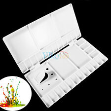 Whtie Folding Art Drawing Paint Tray Watercolor Mixing Box Palette w/ Thumb Hole