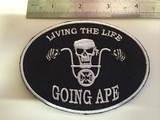 Support Custom Biking Chopper Living The Life Going Ape Embroidered Biker Patch