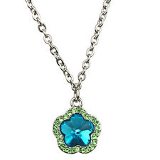 NEW KIRKS FOLLY FAIRY POPPY FLOWER NECKLACE SILVERTONE/AQUA
