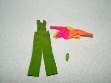 1970s Mattel Rock Flowers Doll Overall Green Outfit & 1 Shoe