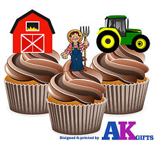 Kids Cartoon Tractor / Farm Mix - 12 Fun Fully Edible Birthday Cup Cake Toppers