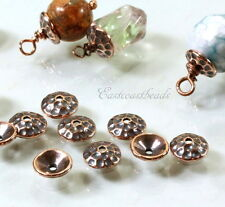 TierraCast, 8mm. Hammered Bead Caps, Copper Plated, 10 Pieces, 6218