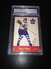 Rudy Migay Signed 1955-56 Parkhurst Card Toronto Maple Leafs PSA Slab #83839360