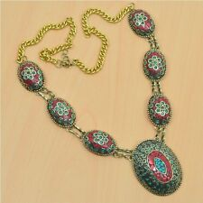 925 TIBETAN SILVER & BRASS NATURAL CORAL-TURQUOISE ADJUSTABLE NECKLACE JEWELRY