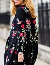 ZARA Black Floral Embroidered Dress With Long Sleeves Small S Mulberry Silk Mix