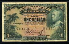 Sarawak 1935, 1 Dollar, 311103, P20, F-VF