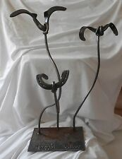 """Lucky Bloom"" Steel Floral Sculpture- Made out of horse shoes"