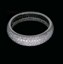 Jewelry Solid 14kt White Gold 1.20Ct Pave Diamond Wedding Band Ring