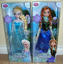 "Disney Frozen Store Exclusive 16"" Singing Elsa & Anna Princess Doll Set of 2 CAN"