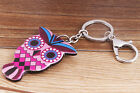 OWL head with KeyChain Bling Charm Pendant Purse Bag Car Key Chain Ring p510