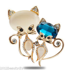 1PC New Fashion Lovely Blue Crystal Cat Brooch Opals Charms Brooch Pin