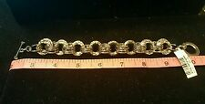 """IMAN Global Chic Collection EXCLUSIVE Luxury Link Bracelet SILVER 8.5""""L/2""""D"""