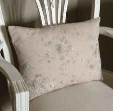 Beige French Linen Vintage Look Faded Grey Roses Shabby Chic Cushion Cover