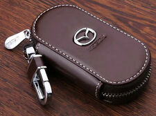 Elegant cowhide leather car keybag keyring key chain personalised for MAZDA