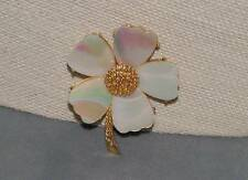 Vintage White Iridescent Mother of Pearl Flower Pin Brooch by Mandle
