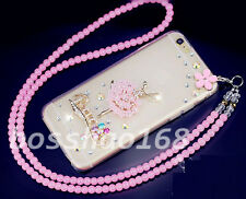 Glitter Luxury Bling Diamonds Soft TPU Gel Shell back Case Cover with strap #D
