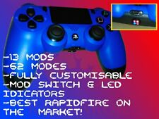 Blue Sony PS4 Dualshock 4 with War Devil Rapid Fire, Mod switch + LED Indicator