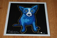 George Rodrigue Blue Dog Golden Shadow Silkscreen Print  Signed Numbered Artwork