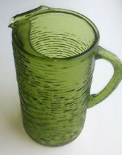 Vintage Green Glass Pitcher Mid Century Art Deco