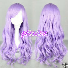 Women girl Long Purple Synthetic Hair Wig Beautiful lolita wig Anime Wig