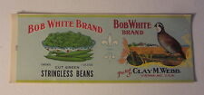 Lot of 10 Old Vintage BOB WHITE Stringless Beans CAN LABELS - Bird / Vienna MD.