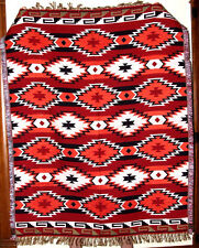 Colorful Throw Blanket Southwest Geometric  4'x5' Reversible Lightweight Red #3C