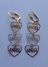 Earrings 18K gold plated-dangling-hearts-angel -tri colored- lever back-