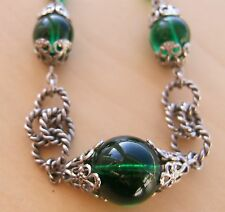 LOVELY MODERNIST VINTAGE ART DECO JAKOB BENGEL CHROME & GREEN GLASS NECKLACE