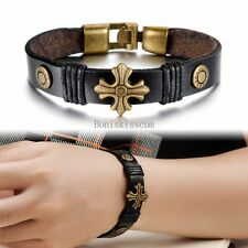Vintage Retro Bronze Tone Celtic Cross Black Leather Bracelet Wristband for Men