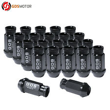 GDS 20pcs Black 50mm Extended Tuner Wheel Lug Nuts 12x1.5 for Honda Acura Toyota