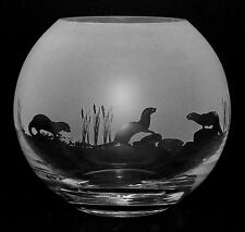 *OTTER GIFT*  15cm Boxed CRYSTAL GLASS GLOBE VASE with OTTER FRIEZE