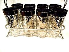 """1950's Set of 8 Silver Overlay glasses w/Metal Caddy 5 1/2"""""""