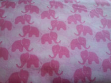 "0196 Baby Mine Elephants Pink 100% Cotton FLANNEL 44"" W BTY"