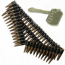 Bullet Belt & Dog Tag Army Soldier 80s 90s Mexican Fancy Dress Outfit Costume