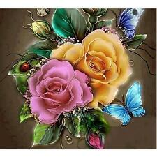 Beautiful Flowers and Butterfly 5D DIY Diamond Embroidery Painting Cross Stitch