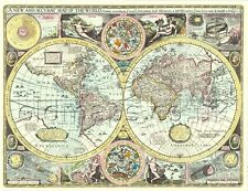 Mapa del mundo de tamaño completo Impreso Replica Antiguo 17c John Speed una única idea de regalo!