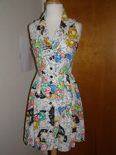 """CHANEL NEAR-VINTAGE LAGERFELD """"COCO CHANEL"""" PRINTED COTTON DRESS+12 """"CC"""" BUTTONS"""