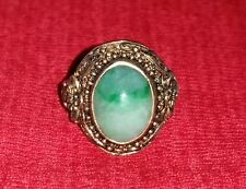 ANTIQUE CHINESE APPLE GREEN JADE VERMEIL STERLING RING SZ 7 SIGNED SILVER CHINA