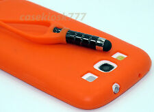 for samsung galaxy S3  i9300 phone orange w/ attached stylus case silicone\