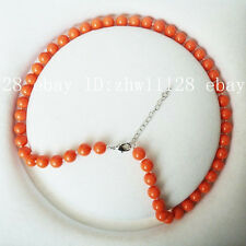 8mm coral orange color south sea shell pearl fashion necklace 18'' AAA
