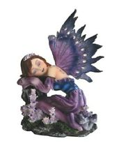 "4"" Inch Purple Sleeping Fairy Statue Figurine Figure Fairies Magic Mythology"