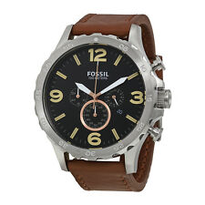Fossil Nate Chronograph Black Dial Brown Leather Mens Watch JR1475
