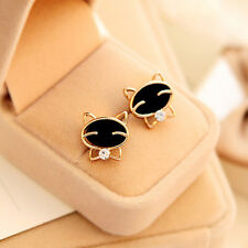 Chic Lovely Lady Black Cat Style Ear Studs Exquisite Rhinestone Earrings C09