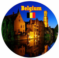 BELGIUM - SIGHTS / FLAG - ROUND SOUVENIR FRIDGE MAGNET - BRAND NEW - GIFT