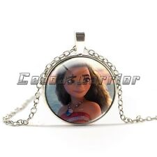 New Moana Glass Necklaces Silver Plated Pendants Choker Chain Women&Men Gifts  B