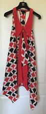 New FASHION STAR for H&M Retro Lady's Red/Black/Beige geometric dress, SZ 4