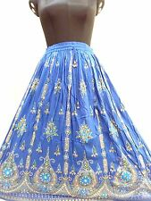 Boho Peasant Tribal Vintage Indian Bohemian Hippie Long Party Sequin Skirt