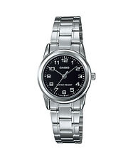 Casio Women's Silvertone Bracelet Watch, Black Dial,  LTP-V001D-1B
